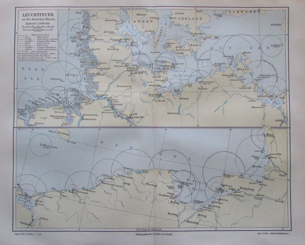 1897 Leuchtfeuer An Den Deutschen Kusten Alte Landkarte Karte