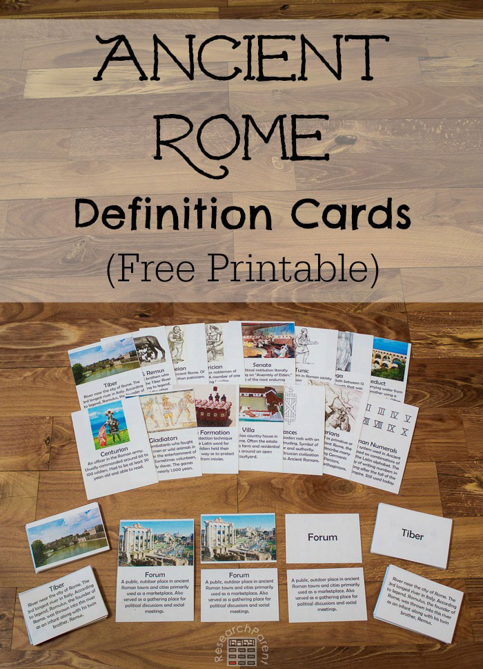 Ancient Rome Definition Cards   World history lessons ...