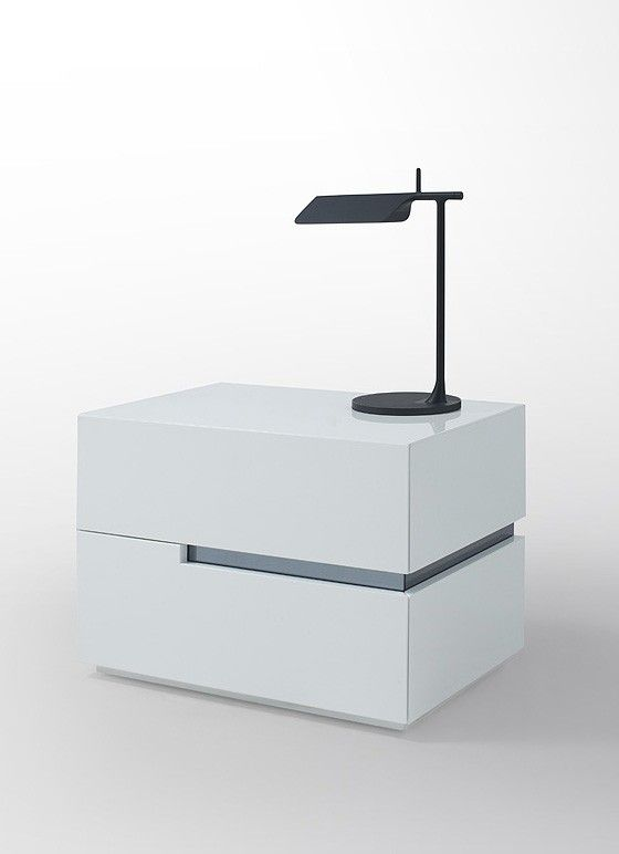 Polar Modern White Lacquer Nightstand Bedroom Night Stands