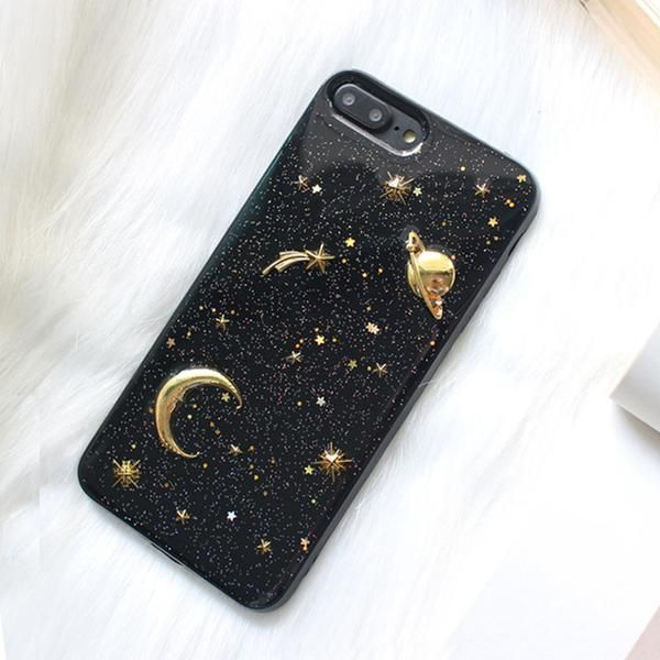 space saturn moon phone cases for iphone 7 6 6s 8 plus x case gold airship stars bling glitter. Black Bedroom Furniture Sets. Home Design Ideas