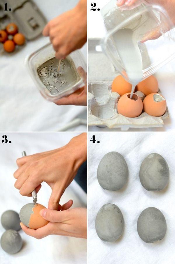 Osterdekoration selber basteln ideen eier beton garten for Basteln ideen pinterest