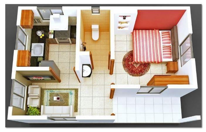 planos-de-casas-cocina-comedor-una-pieza-y-bano-en-3d (con ...