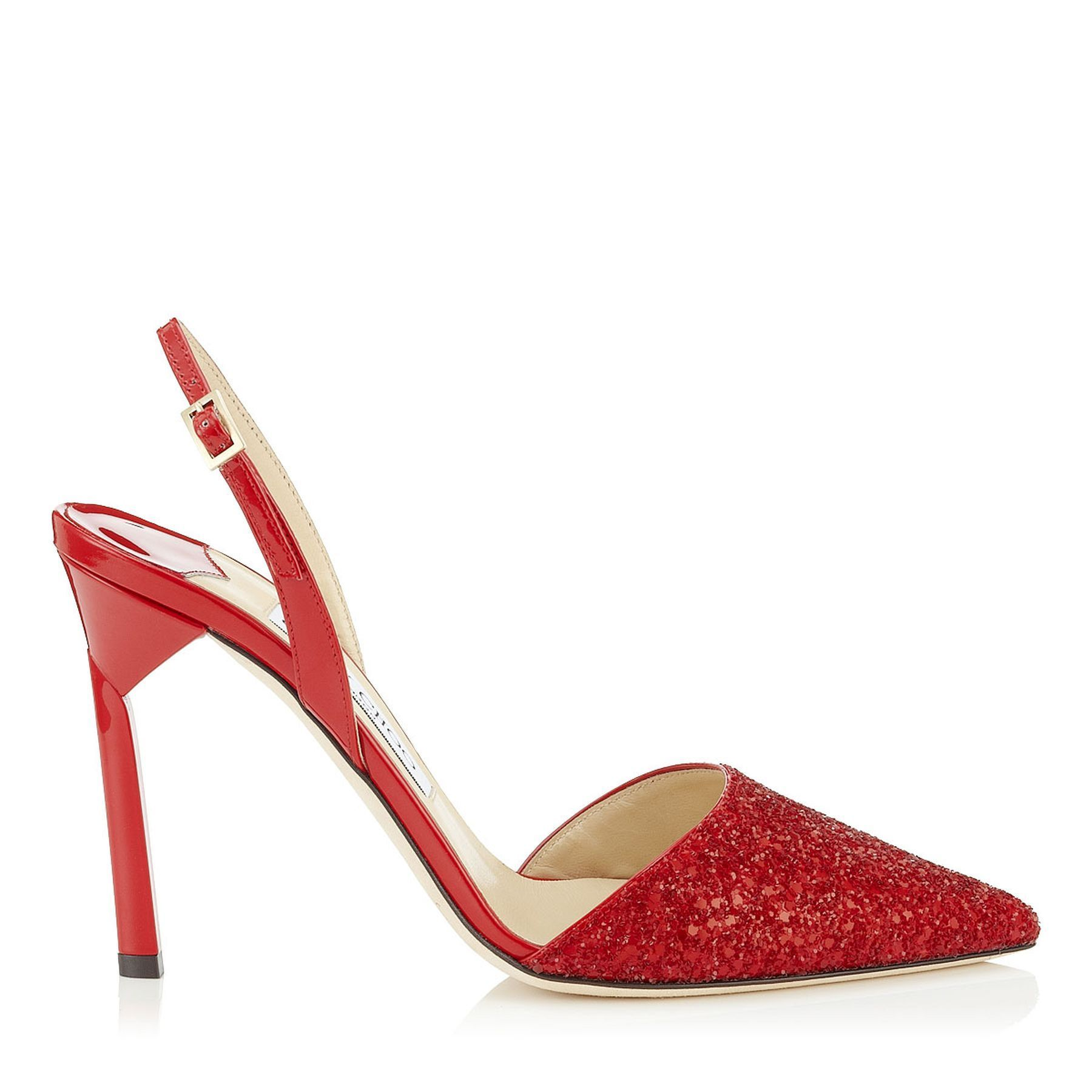 Jimmy Choo Devleen Coarse Glitter Fabric Women Pointy Toe Slingback Pumps Red