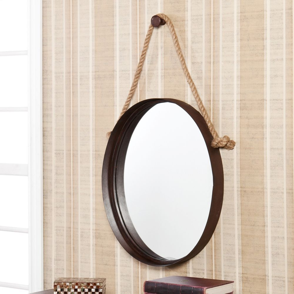 Decorative Rope Hanging Oval Round Wall Mirror Nautical Porthole Living Room