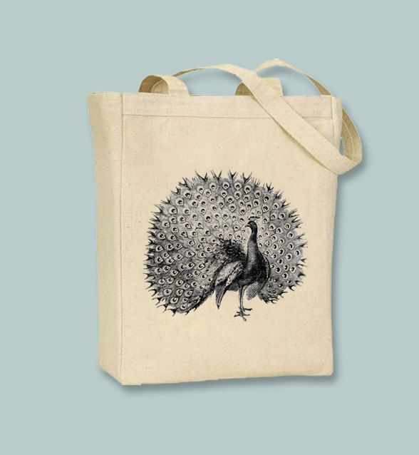 Detailed Vintage Peacock Illustration Canvas Tote Image In ANY COLOR