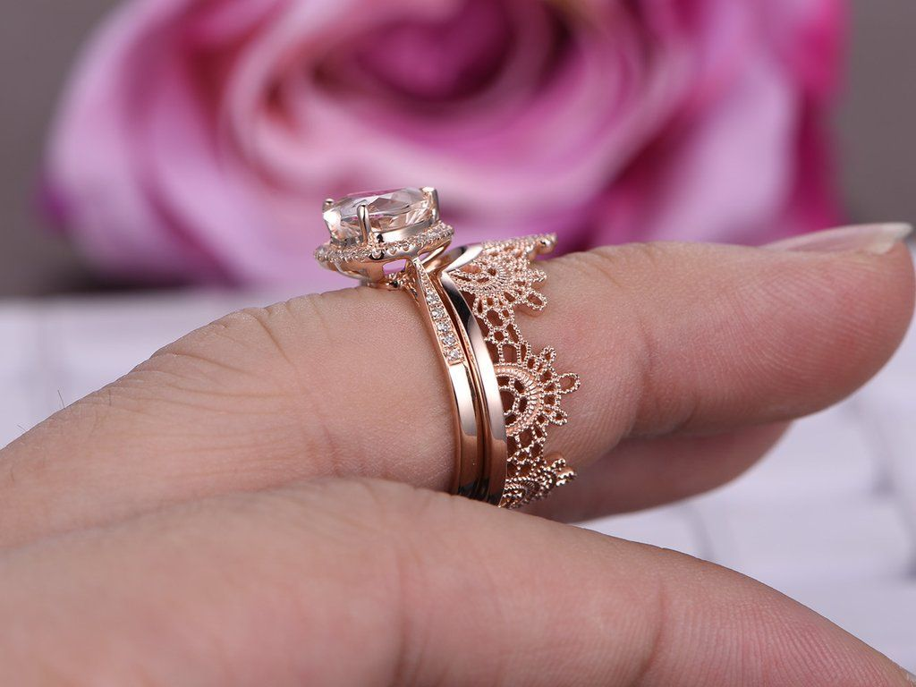 Heart Morganite Engagement Ring Sets Tiara Wedding Ring 14K Rose ...