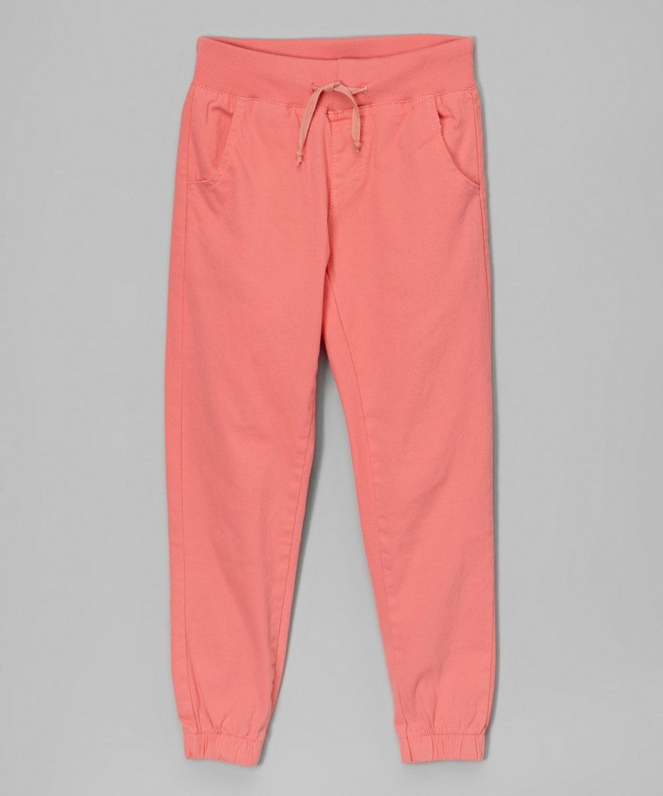 Look at this #zulilyfind! Coral Jogger Pants - Girls by Cutie's Fashions #zulilyfinds