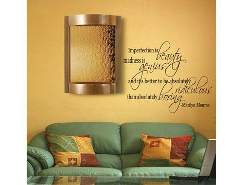 "Lana Decals Marilyn Monroe ""Imperfection"" Quote Wall"