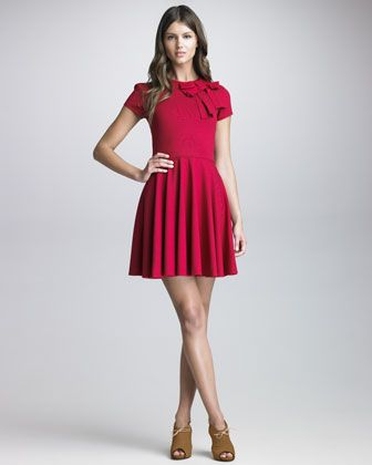 Bow-Detailed Short-Sleeve Dress by RED Valentino at Bergdorf Goodman.