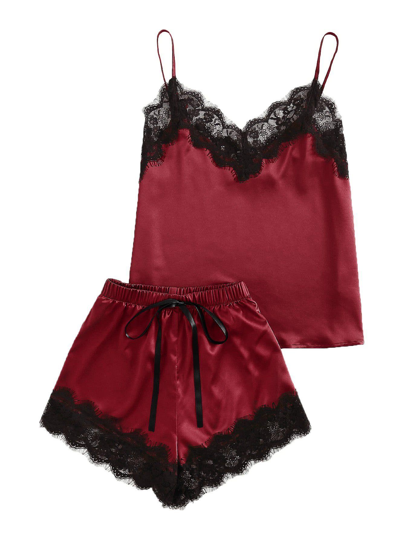 Makemechic Women S Lace Satin Sleepwear Cami Top And Shorts Pajama