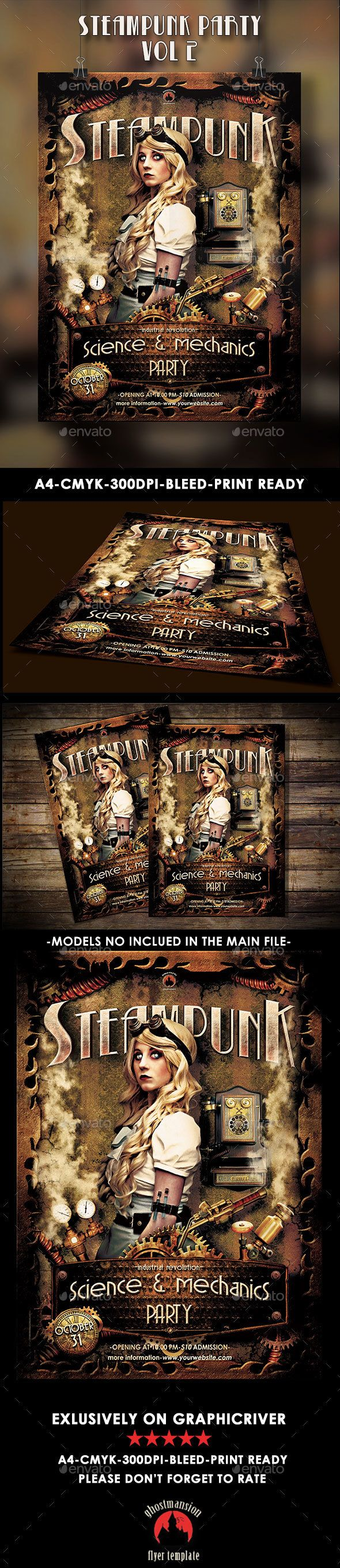 Steampunk Party Poster Template Vol 2