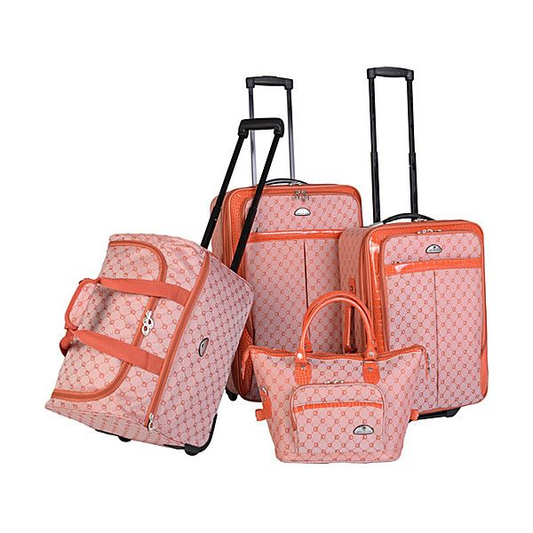American Flyer AF Signature 4-Piece Luggage Set ($170) ❤ liked on Polyvore featuring bags, luggage, luggage sets and orange