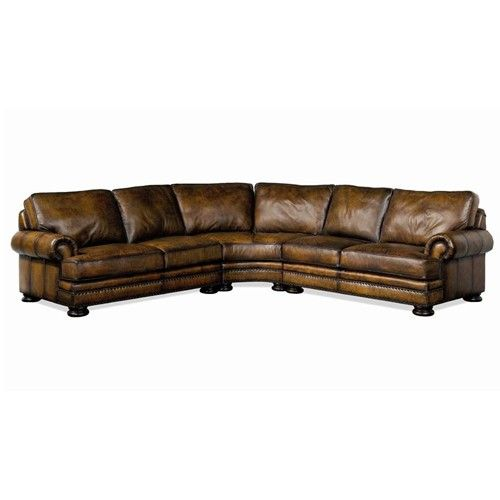 Bernhardt Foster Leather Sectional Sofa With Nailhead Trim   Story U0026 Lee  Furniture   Sofa Sectional