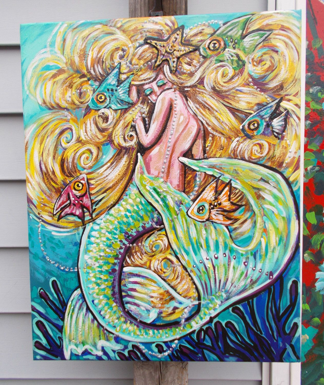 A personal favorite from my Etsy shop https://www.etsy.com/listing/262287872/mermaids-fish-tropical-blue-rainbow