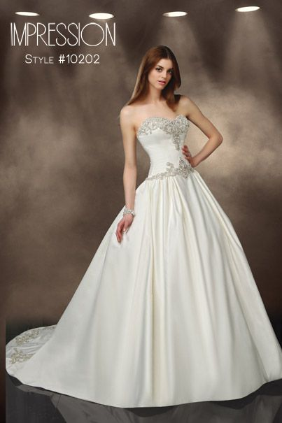 Impression Bridal Wedding Dress Style 10202 Available In Ivory And White Satin Beading Ballgown