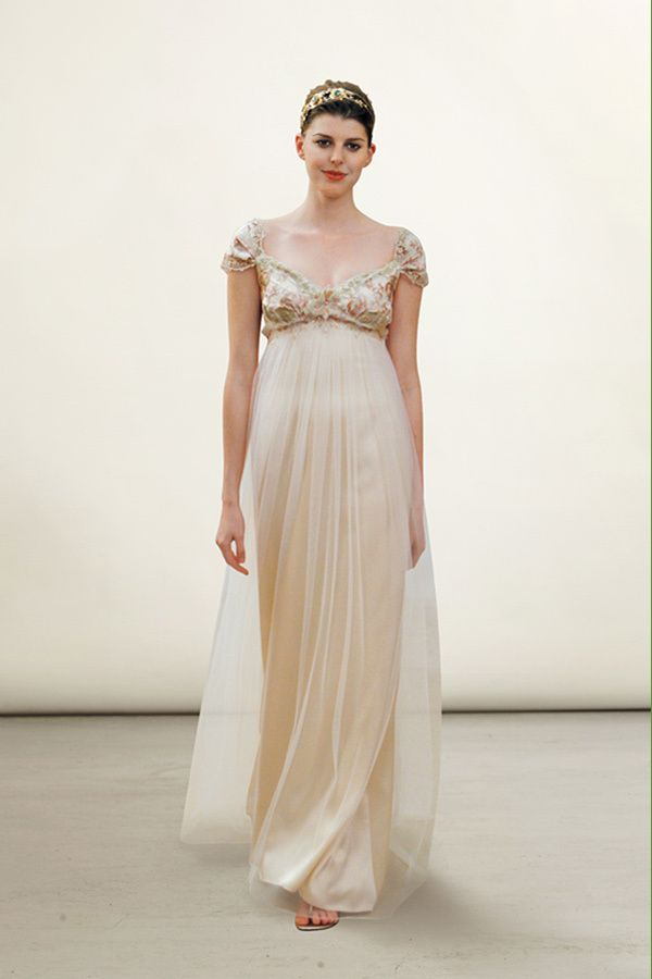 Dusty Rose And Pewter Embroidered Empire Silhouette With Flowing Blush Silk Tulle Skirt