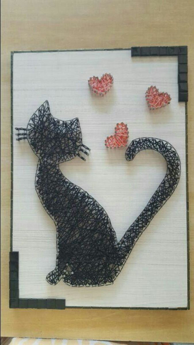 Gato e corações | String art, Craft and Diy string art