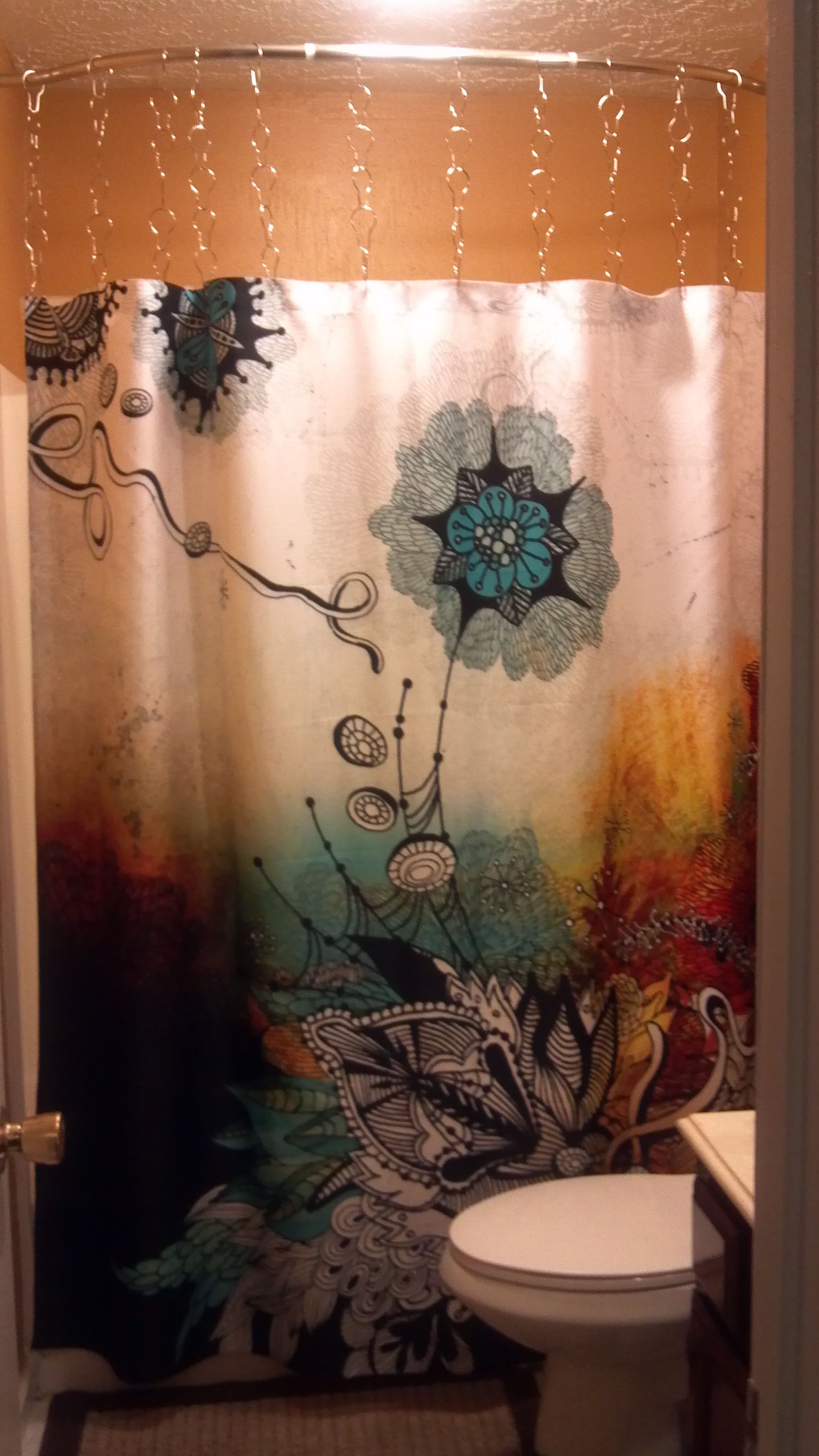 Found Curtain Amazon Wanted Curtain To Look Longer So Bought Curtain Rings From Home Depot Couple Of Dollars Per Gold Walls Printed Shower Curtain Curtains