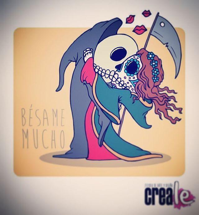 www.creale.es estudio diseño design art diseño, ilustración, paint, draw, kiss me  calavera mejicana dead
