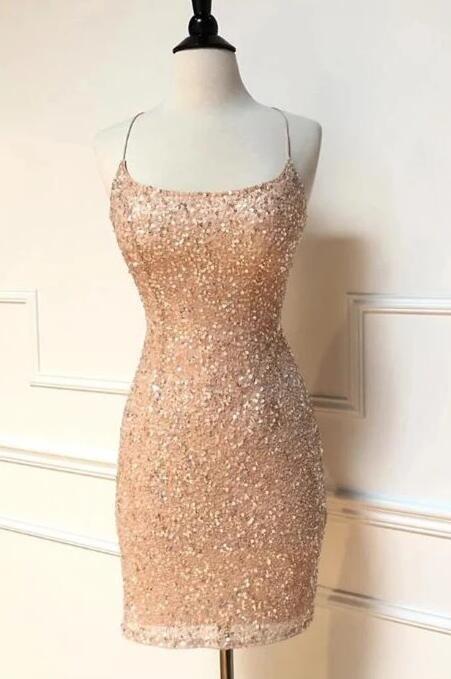 Peach Sequins Homecoming Dress