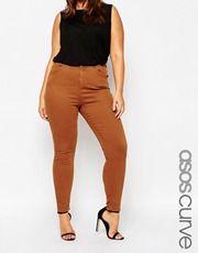 ASOS CURVE Ridley Skinny Jean in Tobacco