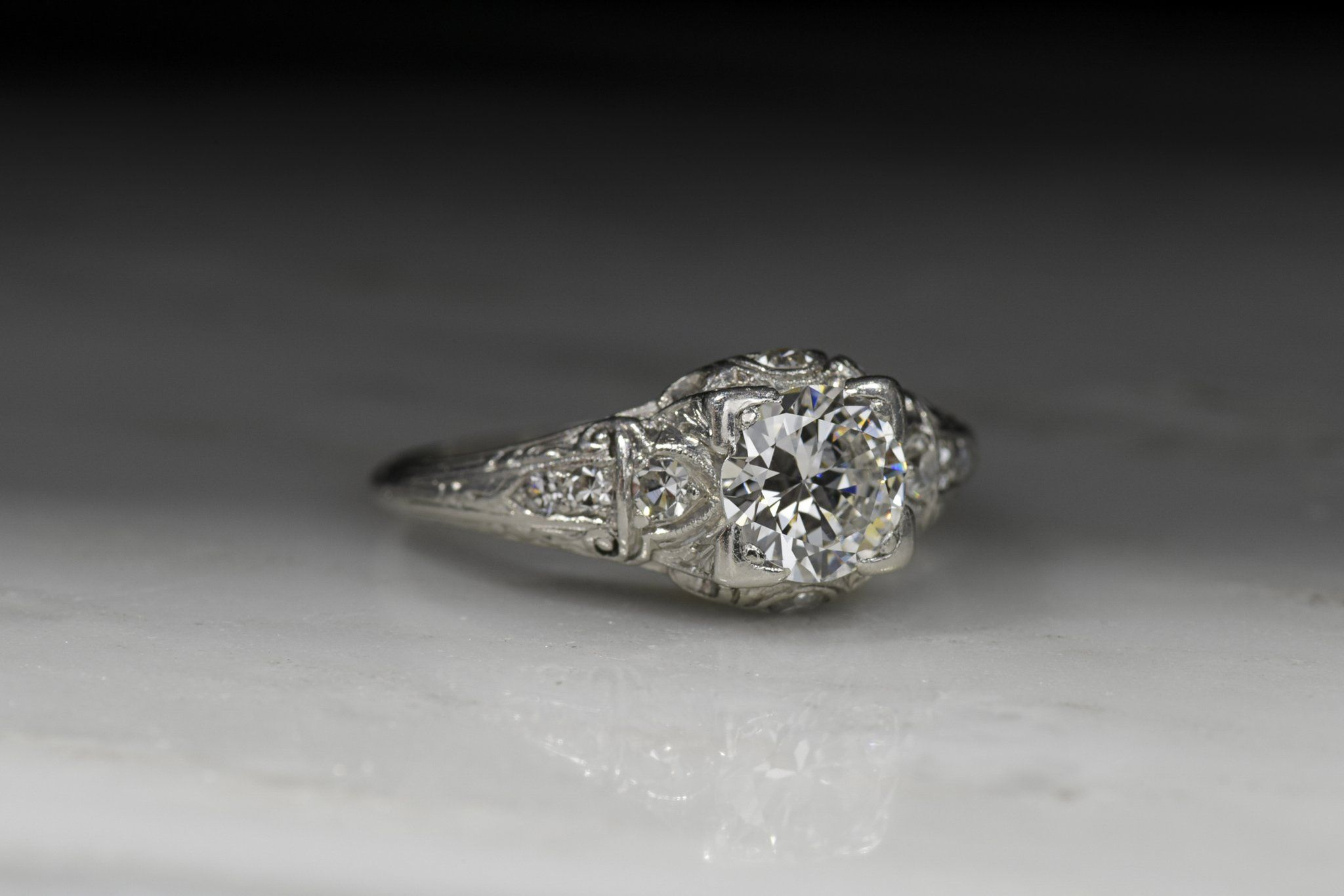 32d936a3d Vintage 1920s Edwardian Old European Cut Diamond Engagement Ring - Pebble  and Polish
