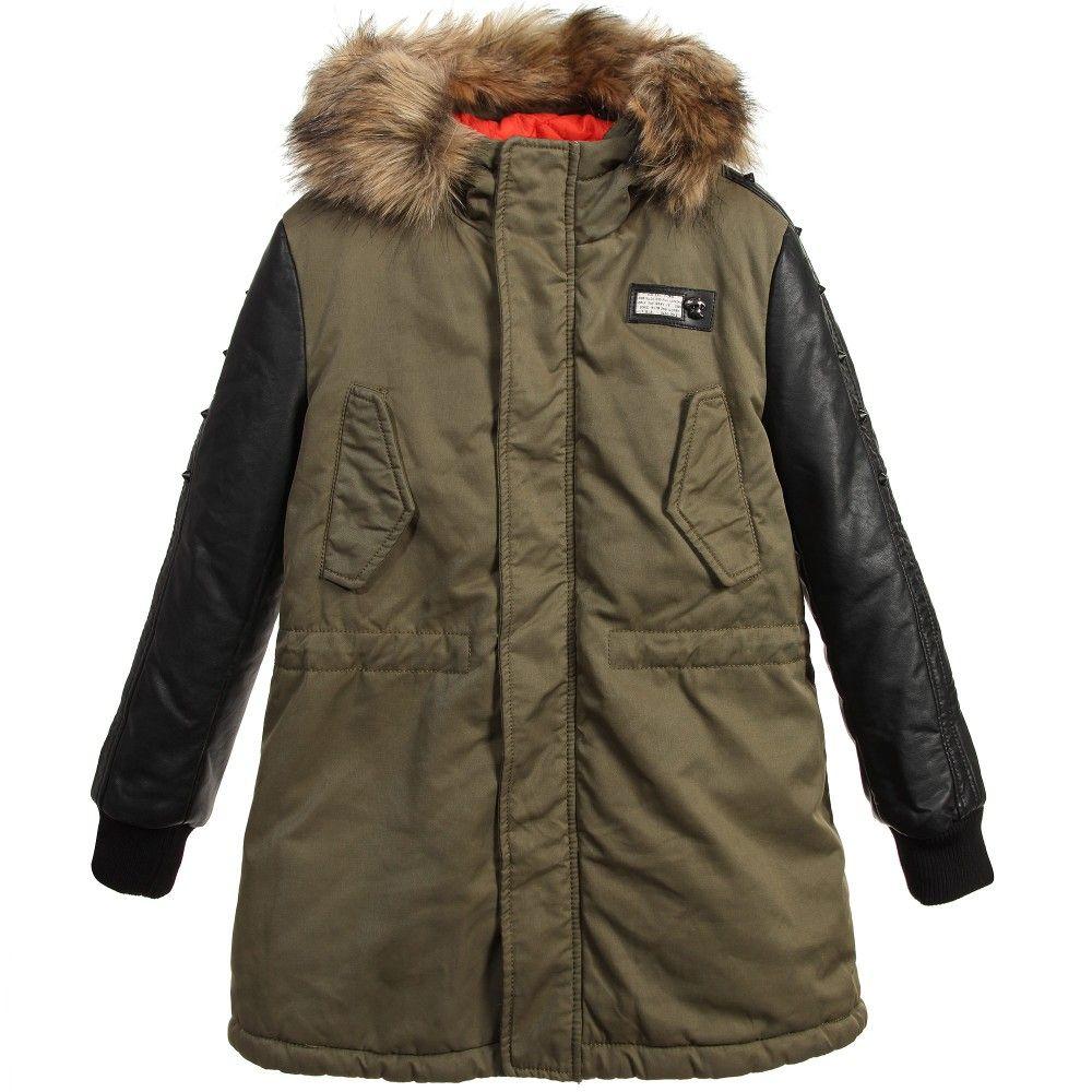Green Parka Coat with Synthetic Fur Trim   Coats, Kid and Fur trim