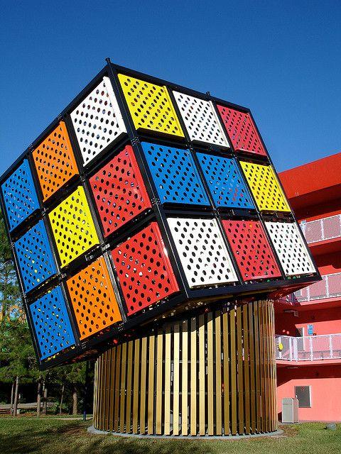 Disney World's Pop Century Resort in Orlando, Florida, has this giant Rubik's Cube for the  celebration of the 2005 World Rubik's Competition in Disney World.