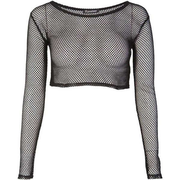 Fishnet Crop Top (€12) ❤ liked on Polyvore featuring tops, shirts, crop tops, long sleeves, fishnet shirt, checkered crop top, checkered shirt, crop shirts and henley shirt