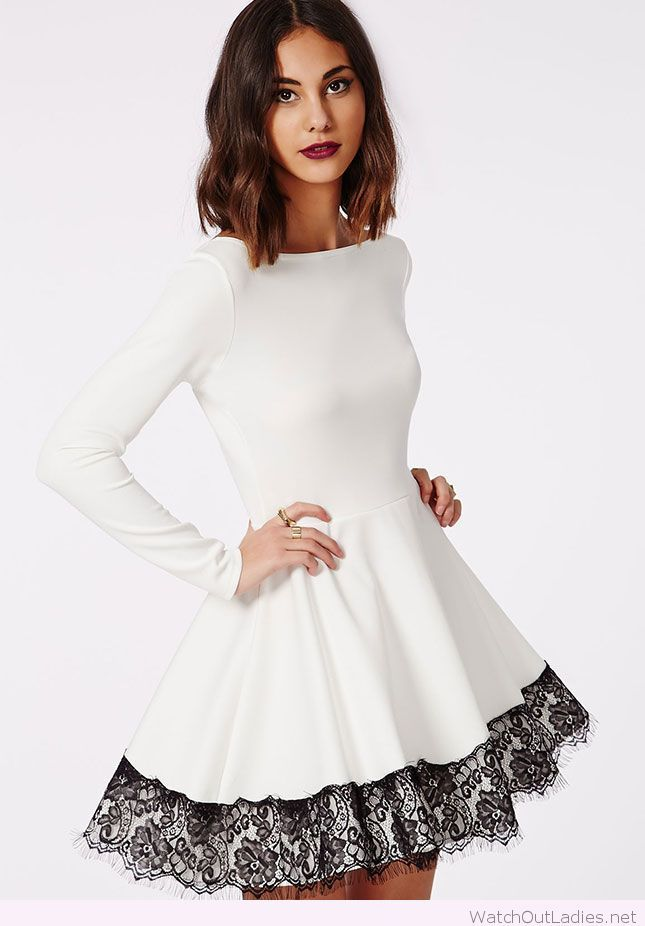 Perfect white Christmas dress with black lace detail ...