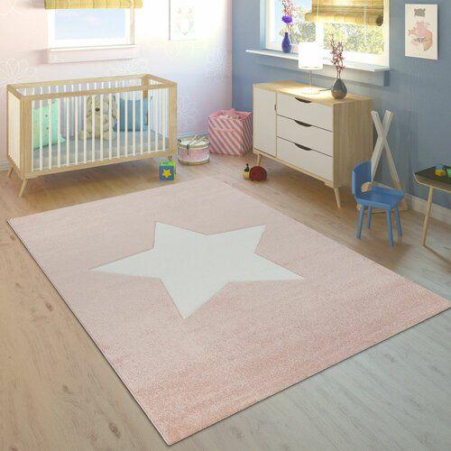 Kinderteppich Hüpfspiel Teppich Hüpfkästchen in Grau Rosa Creme