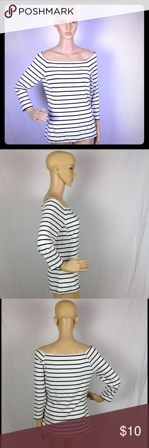 White House Black Market Off Shoulder Blouse Sz M Pre-owned and gently used! Super soft!!! White House Black Market Tops Blouses