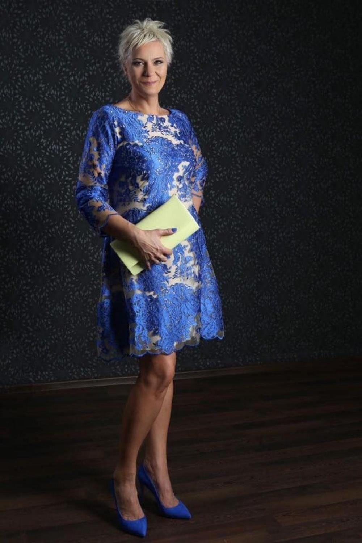 Cocktailkleid brautmutter blau creme. in 2020 ...