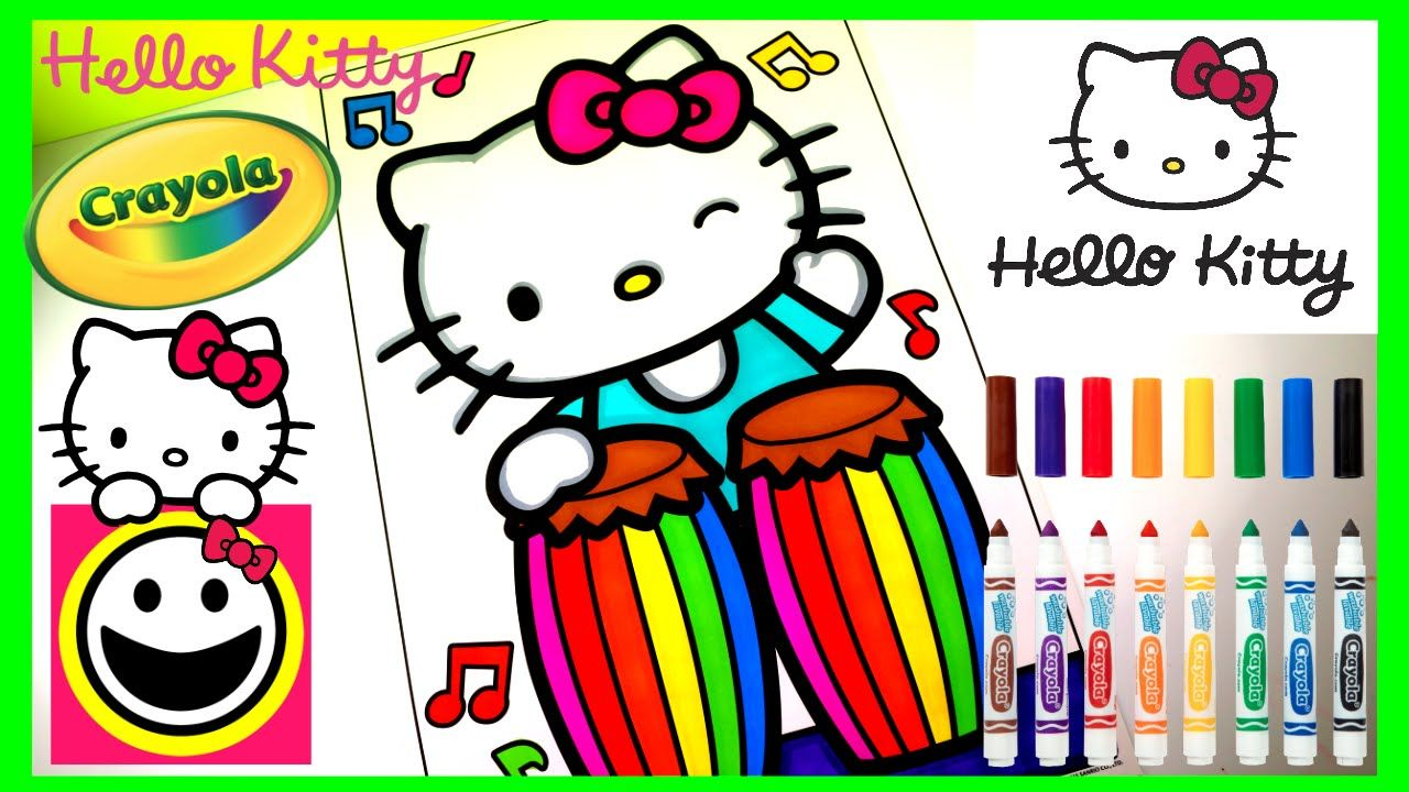 Hello Kitty Playing The Conga Drums Crayola Coloring Pages Crayola Co Hello Kitty Videos Crayola Coloring Pages Hello Kitty