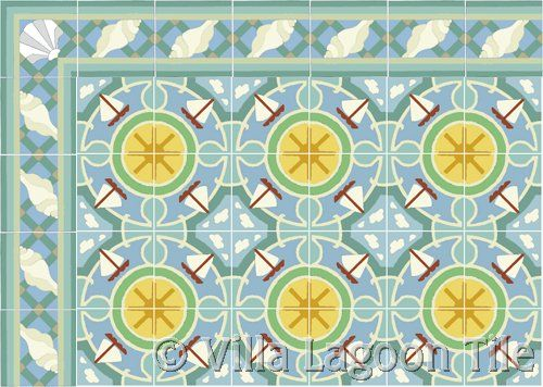 sail boat tile floor with sea shell border in blue