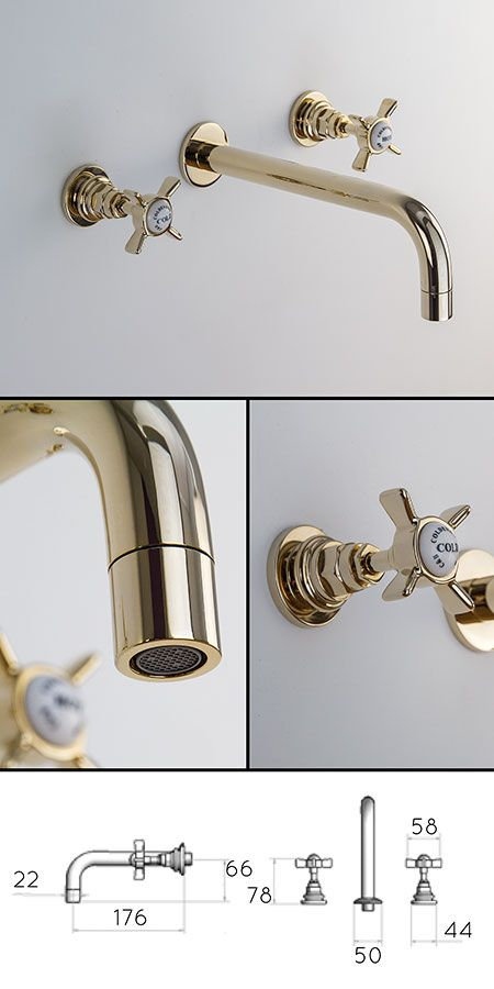 Gold Wall Mounted Basin Taps (43DD) | Home❤ | Pinterest | Basin ...