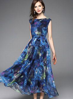 Elegant Print Sleeveless High Waist Maxi Dress
