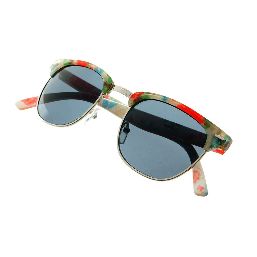 04b247f22c3 Cute Womens Half Frame Flower Print Clubmaster Sunglasses W97 - FREYRS -  Beautifully designed