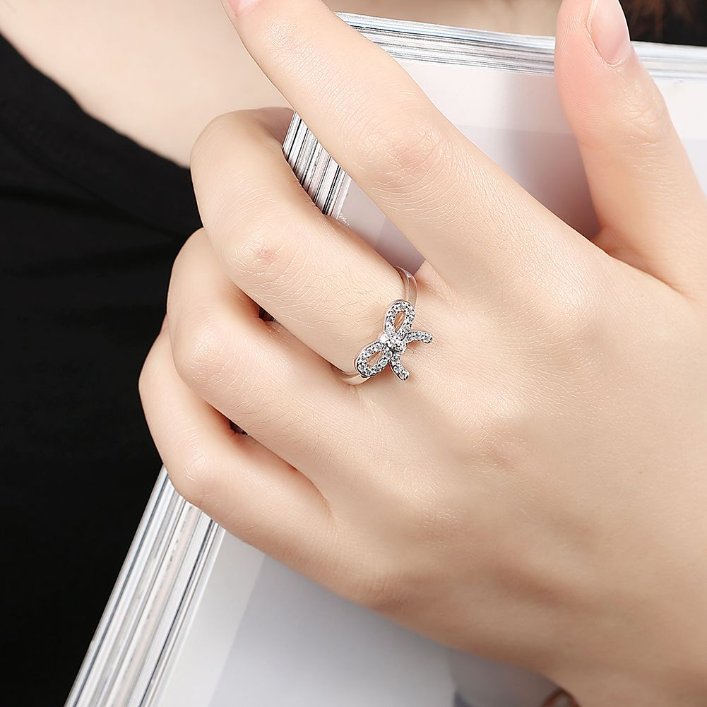 925 Silver Delicate Sentiments Bow Ring UK Sale Engagement Rings