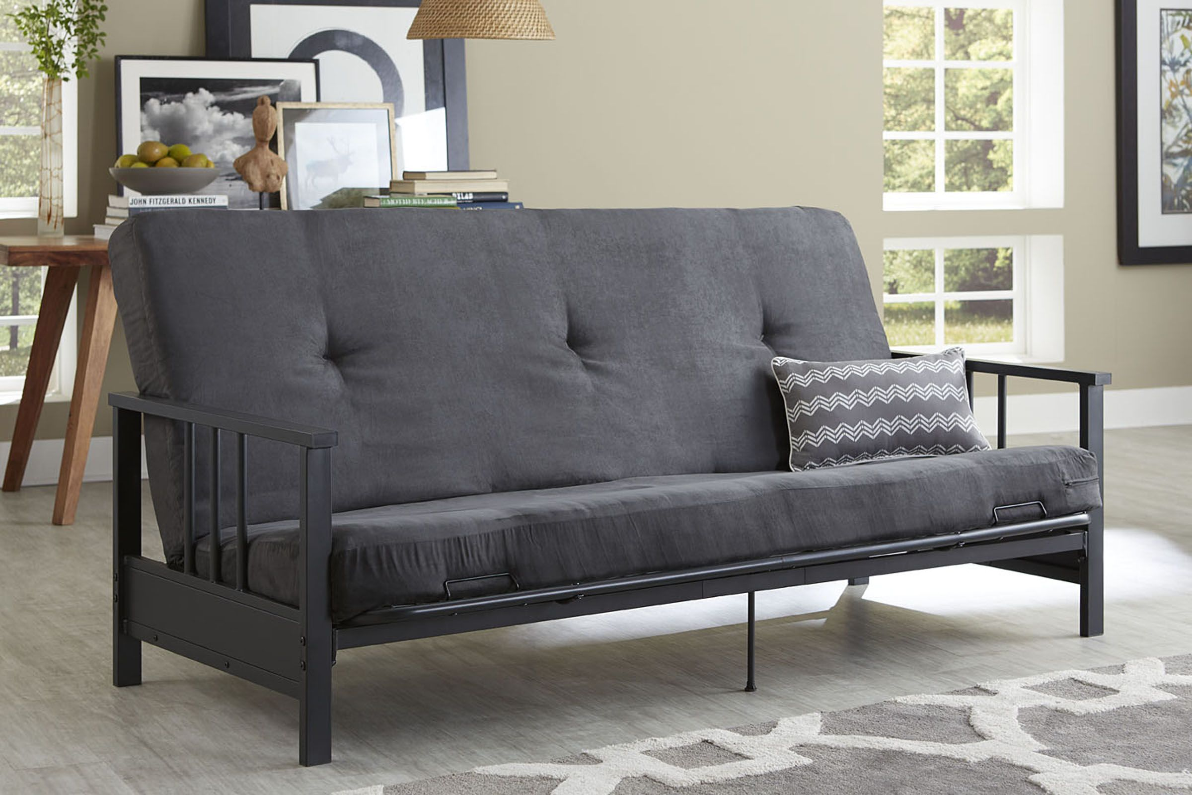 set up a casual and relaxing room by adding a watson black metal arm