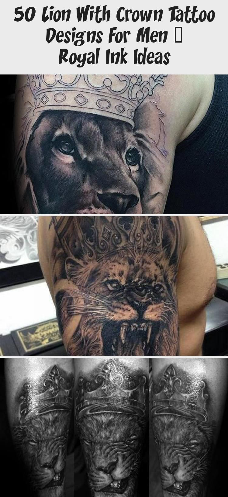 50 lion with crown tattoo designs for men royal ink
