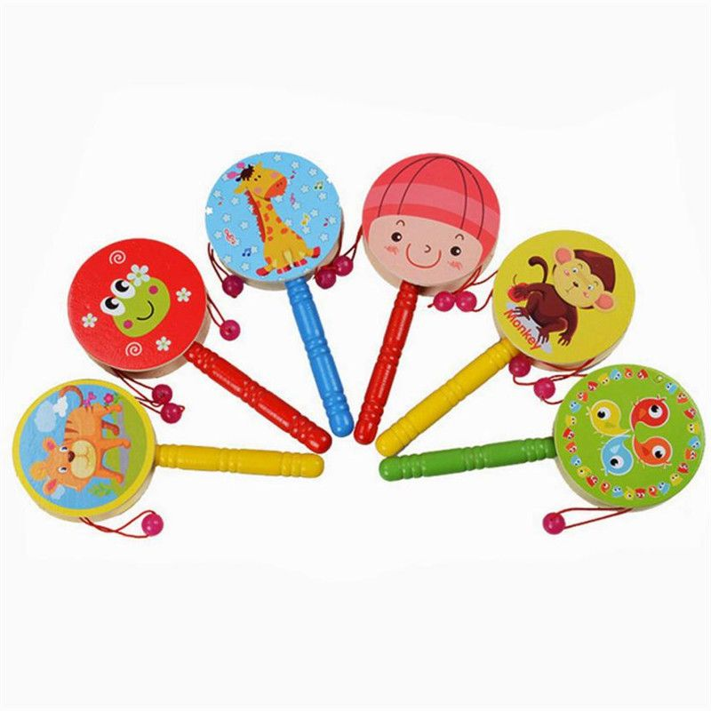 Baby Rattle Ring Wooden Handbell Baby Toys Musical Instruments for 0-12 1O