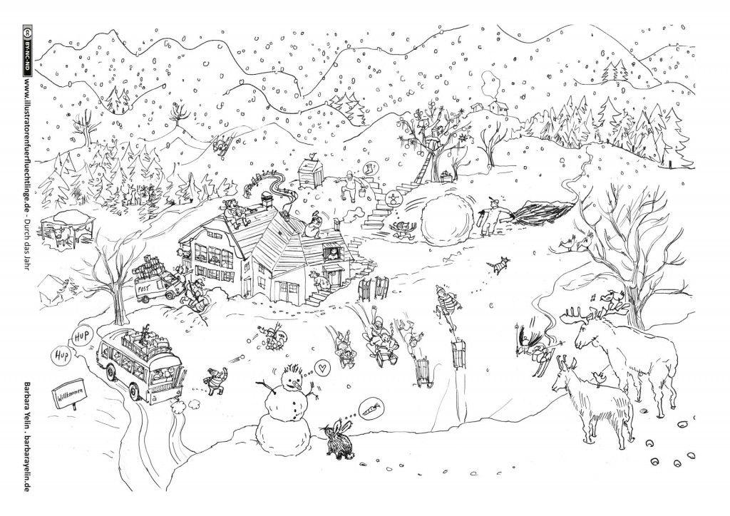 Durch Das Jahr Winter In Den Bergen Yelin Ausmalbilder Winter Ausmalbilder Ausmalen