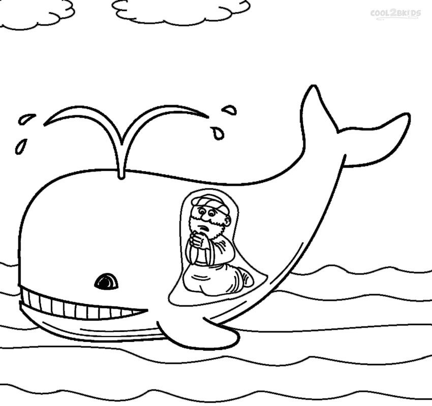 Jonah and the Whale Coloring Pages for Toddlers | material trabajos ...