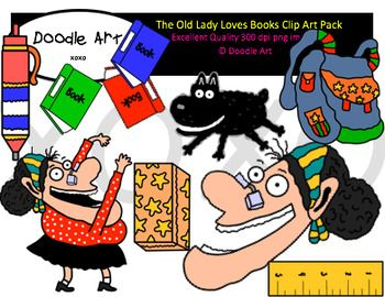 The Old Lady Loves Books Clipart Pack Clip Art Book Clip Art Love Book