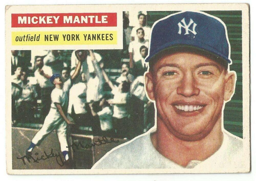 1956 topps 135 mickey mantle vgfree usa shippingnew