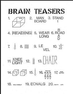 Brain Teasers High School | School | Brain teasers for kids, Brain
