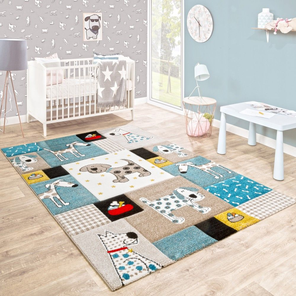 Kinderteppich Hunde Welt Pastelltone Blau Childrens Rugs Animal