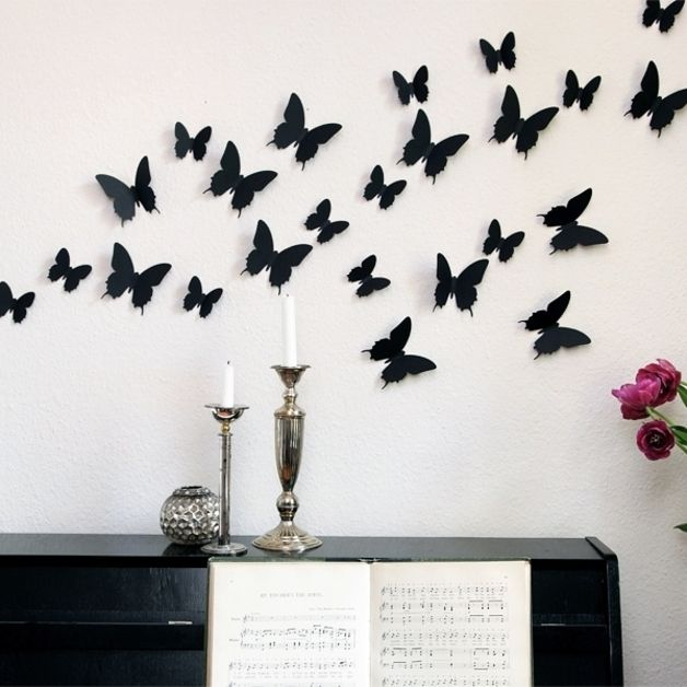 12 Schmetterlinge Schwarz - 3D Wandtattoo - 12 ... | Wandtattoo