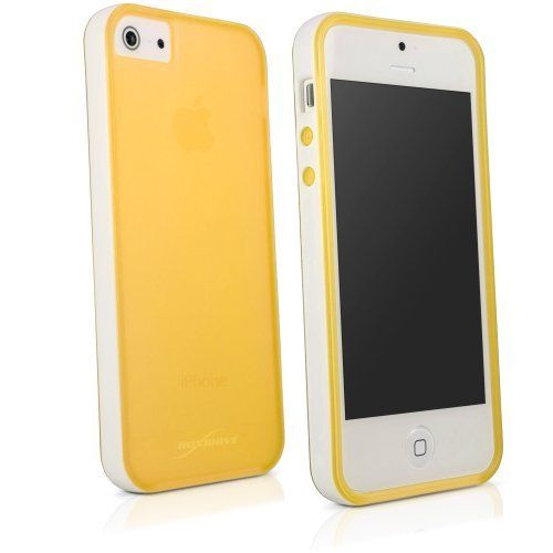 BoxWave Snowy Frost Apple iPhone 5 Case - Sleek White Bumper Frame TPU Hybrid Case for Durable Anti-Slip Protection, with White Trim Dual Tone Color - Apple iPhone 5 Cases and Covers (Yellow) by BoxWave Corporation, http://www.amazon.com/dp/B0006ZLC74/ref=cm_sw_r_pi_dp_Muj3qb0JEYDT2